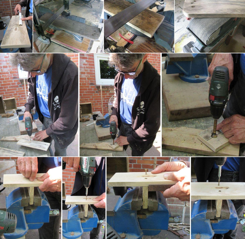 Anleitung zur Herstellung von einfachen Wandvasen aus Palettenholz und Glasröhrchen