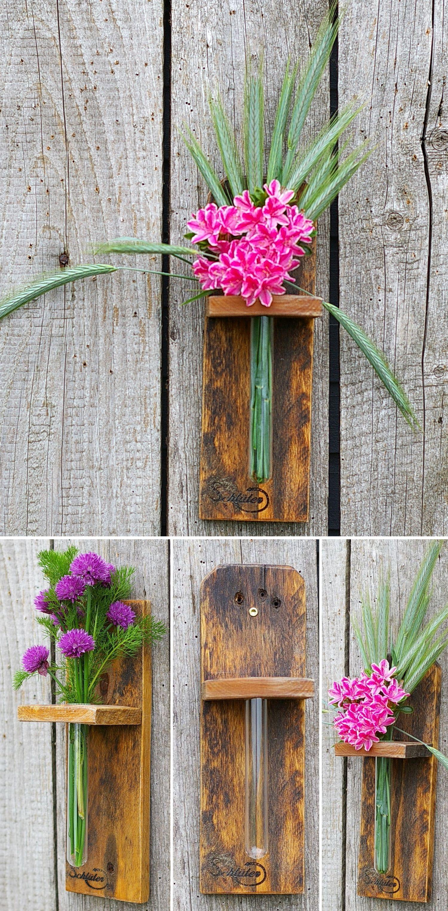 Vase aus Holz mit Glasröhrchen, Bastelidee für Selbermacher