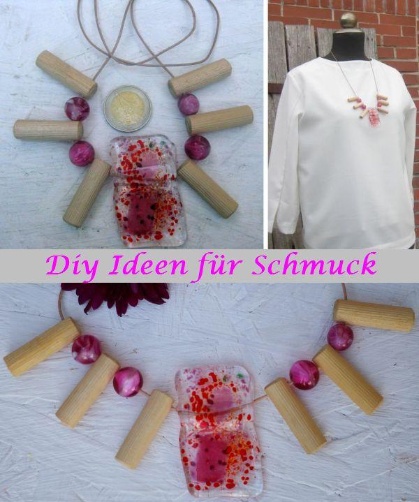 Diy Vorschläge und Ideen zum Basteln von Halsketten mit Glas und Holz