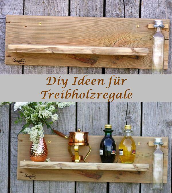 Regal aus Treibholz und einer Metallschelle, an der eine alte Flasche hängt. Selbermachen macht Spaß!