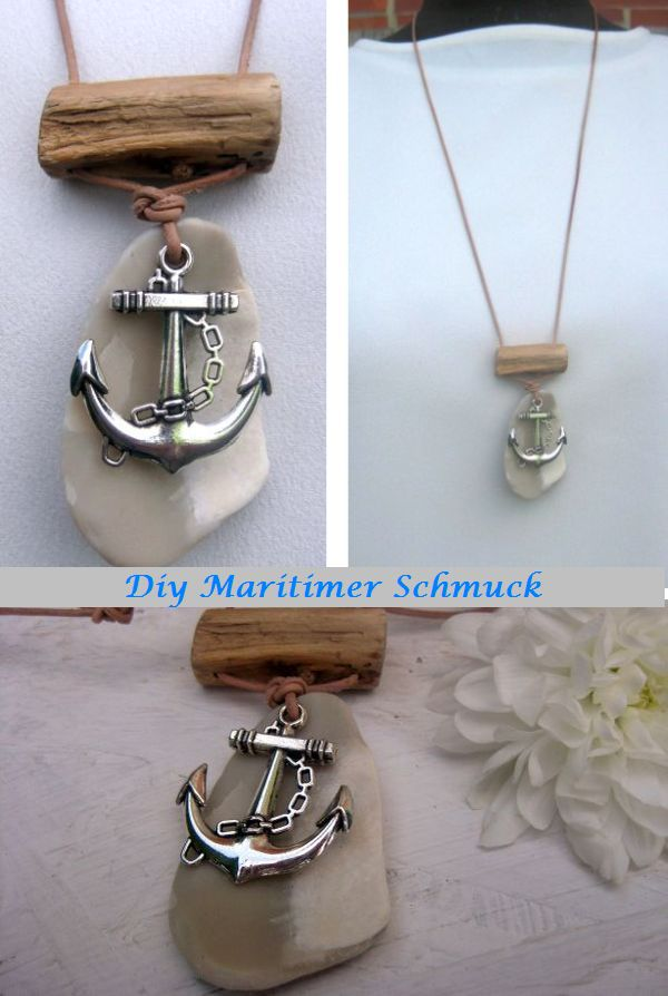 Halskette selber gemacht mit einem Stückchen Muschel, einem Treibholzstückchen und einem Metallanker, alles am Lederband