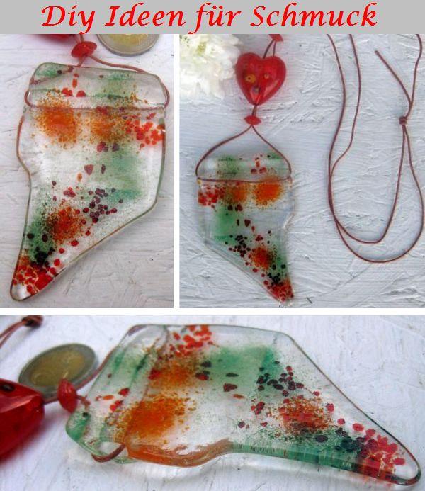 modeschmuck selber basteln, ideen zur Kettenherstellung mit Glas