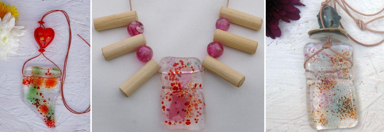 diy Ideen für Halsketten mit Glas, Holz und anderen Zutaten