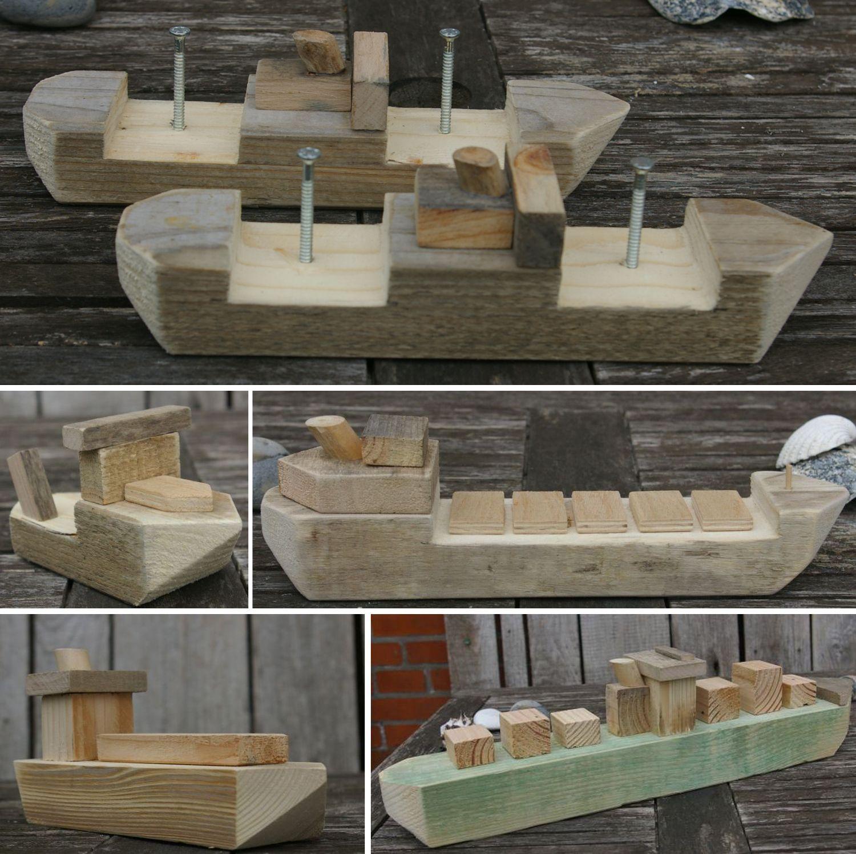 Holz schiffe selber bauen aus Holzresten, nachhaltig basteln