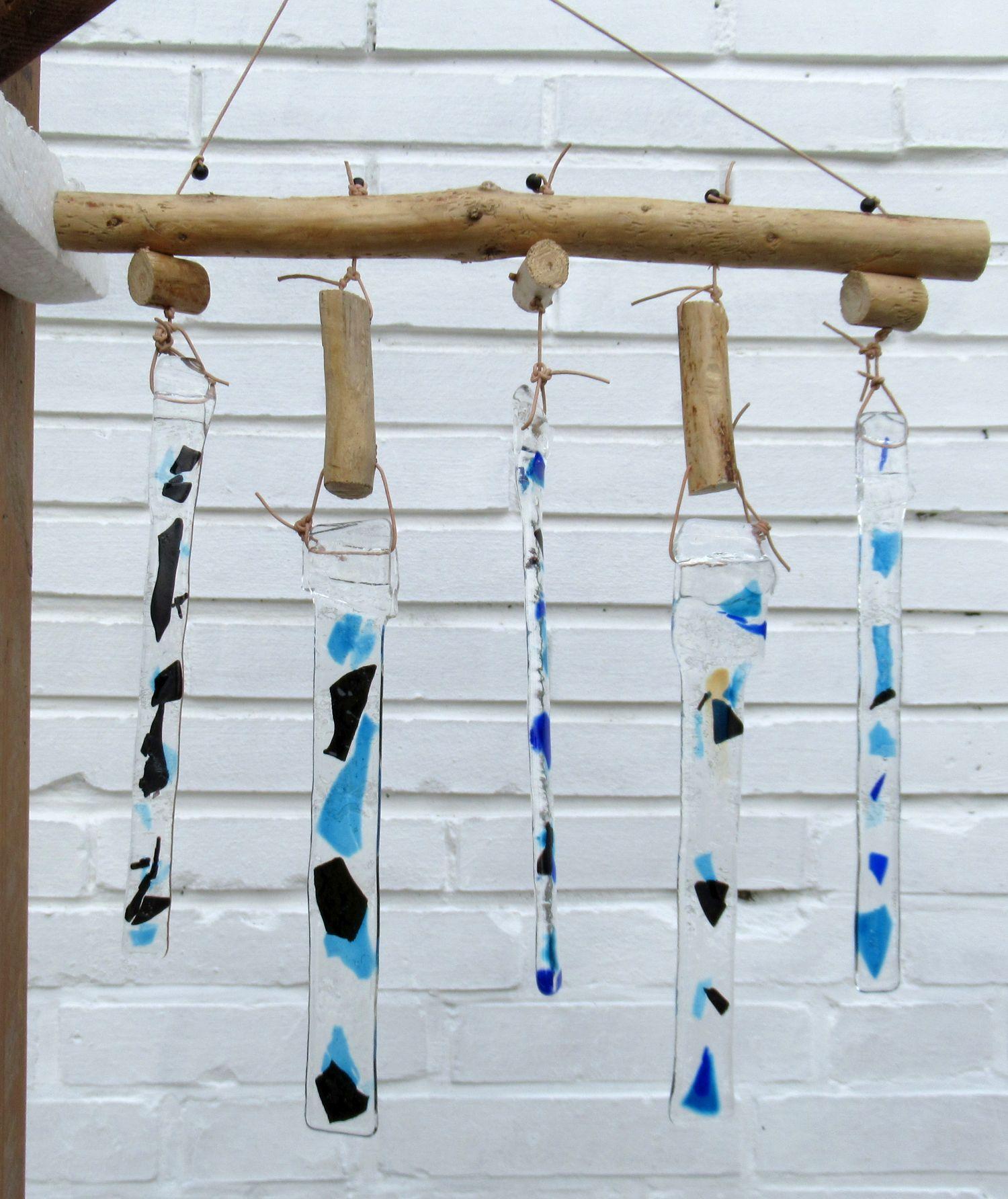 Windspiel mit treibholz und glas selbermachen, basteln mit treibholz