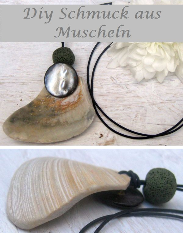 Diy Halskette mit Muschel, Perlmuttknopf und Lavaperle am Lederband, einfache Ideen für maritimen Schmuck
