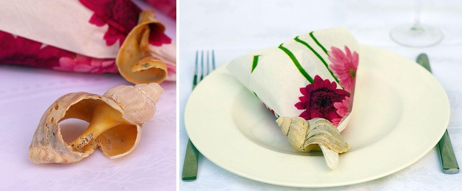Muscheln als Serviettenring, Tischdeko mit Muscheln