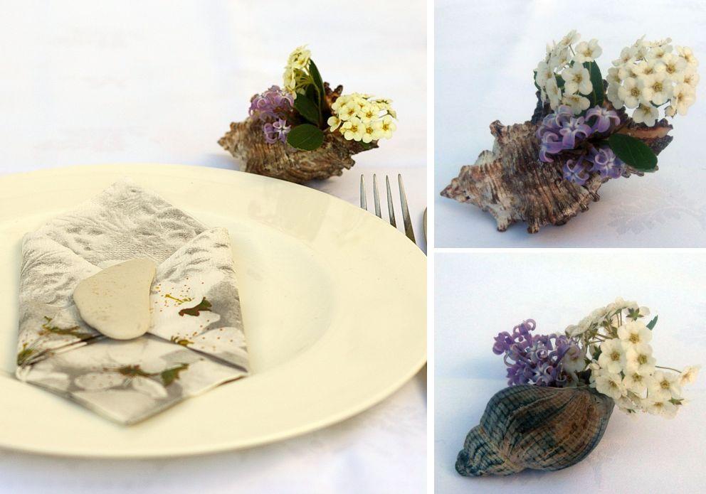 Muscheln als Tischdekoration mit Blumen gefüllt, maritime Deko-Ideen
