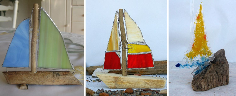 Segelschiffe mit Segeln aus Glas, tiffany-glas, diy