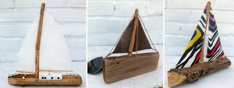 Segelboote diy mit verschiedenen Materialien für die Segel, diy