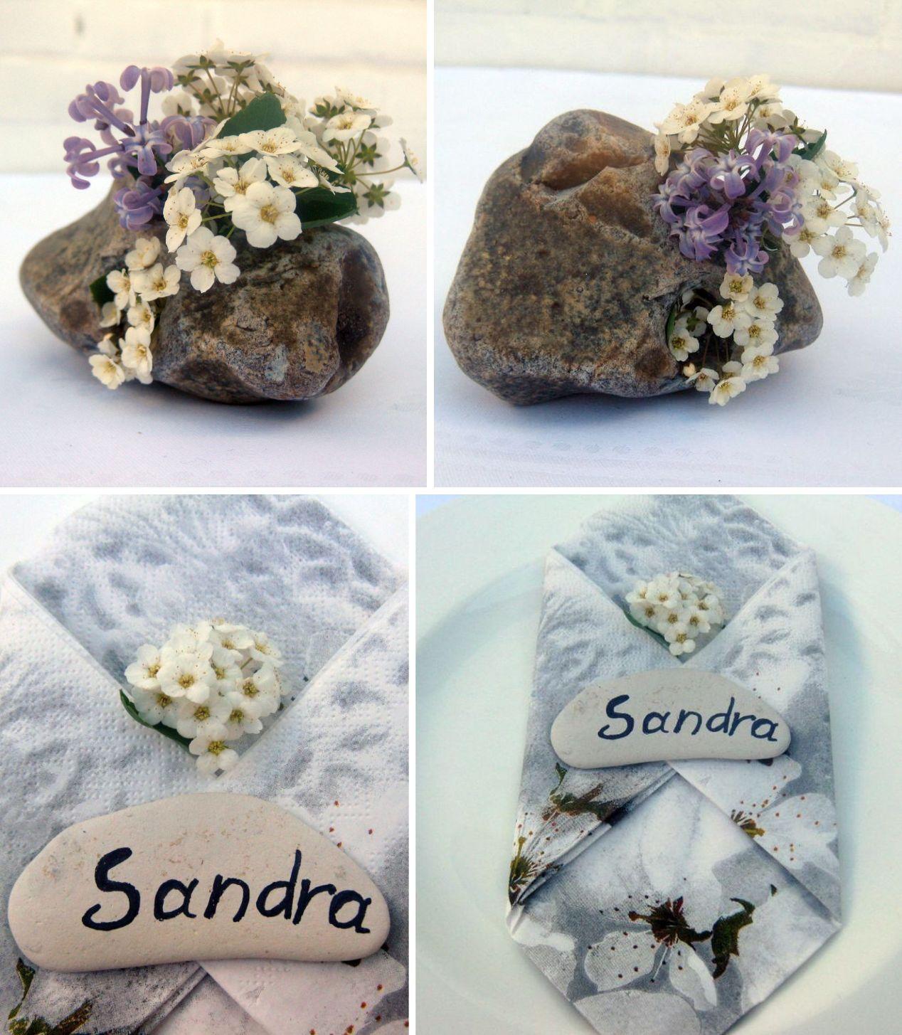 steine mit blumen dekoriert oder als Namensschild