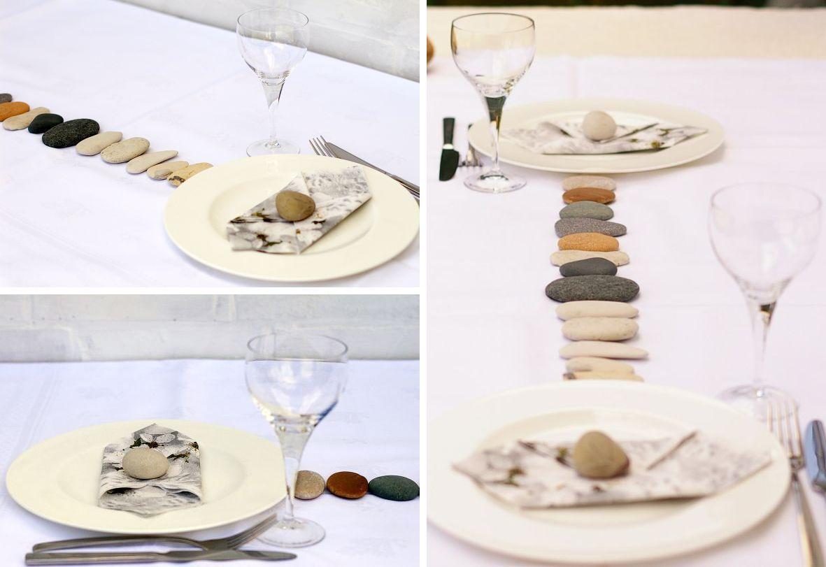 Tischdekoration mit steinen, japanisch, zen,