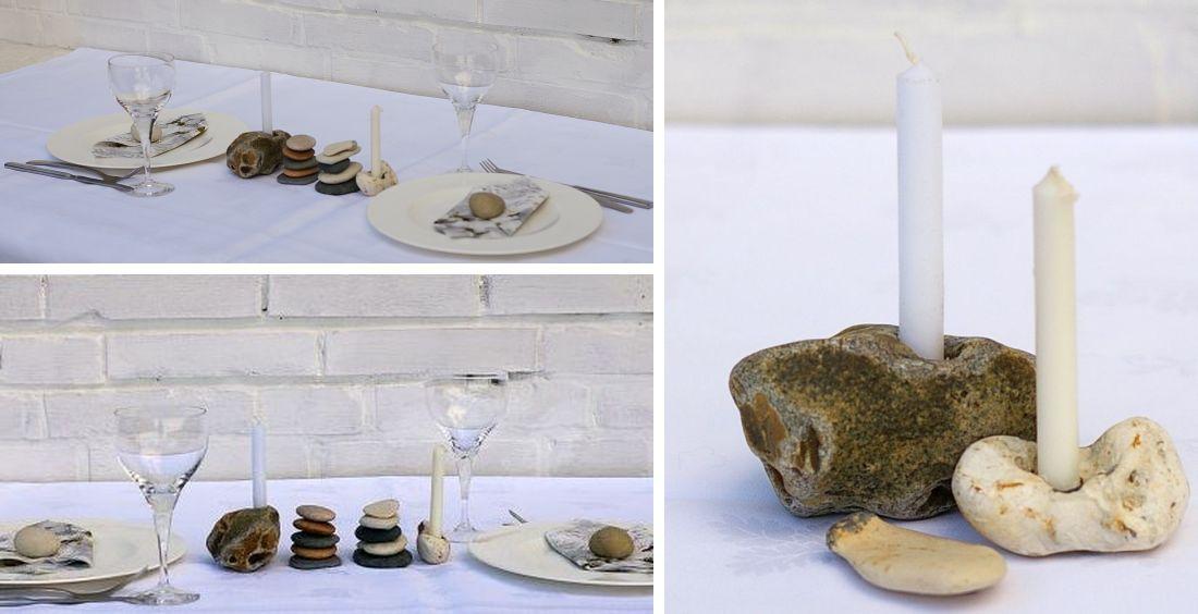 tischdekoration Idee mit steinen und Kerzen, maritime deko