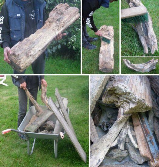 Treibholz in verschiedenen Größen und Formen von der Nordsee wieder hergegeben.
