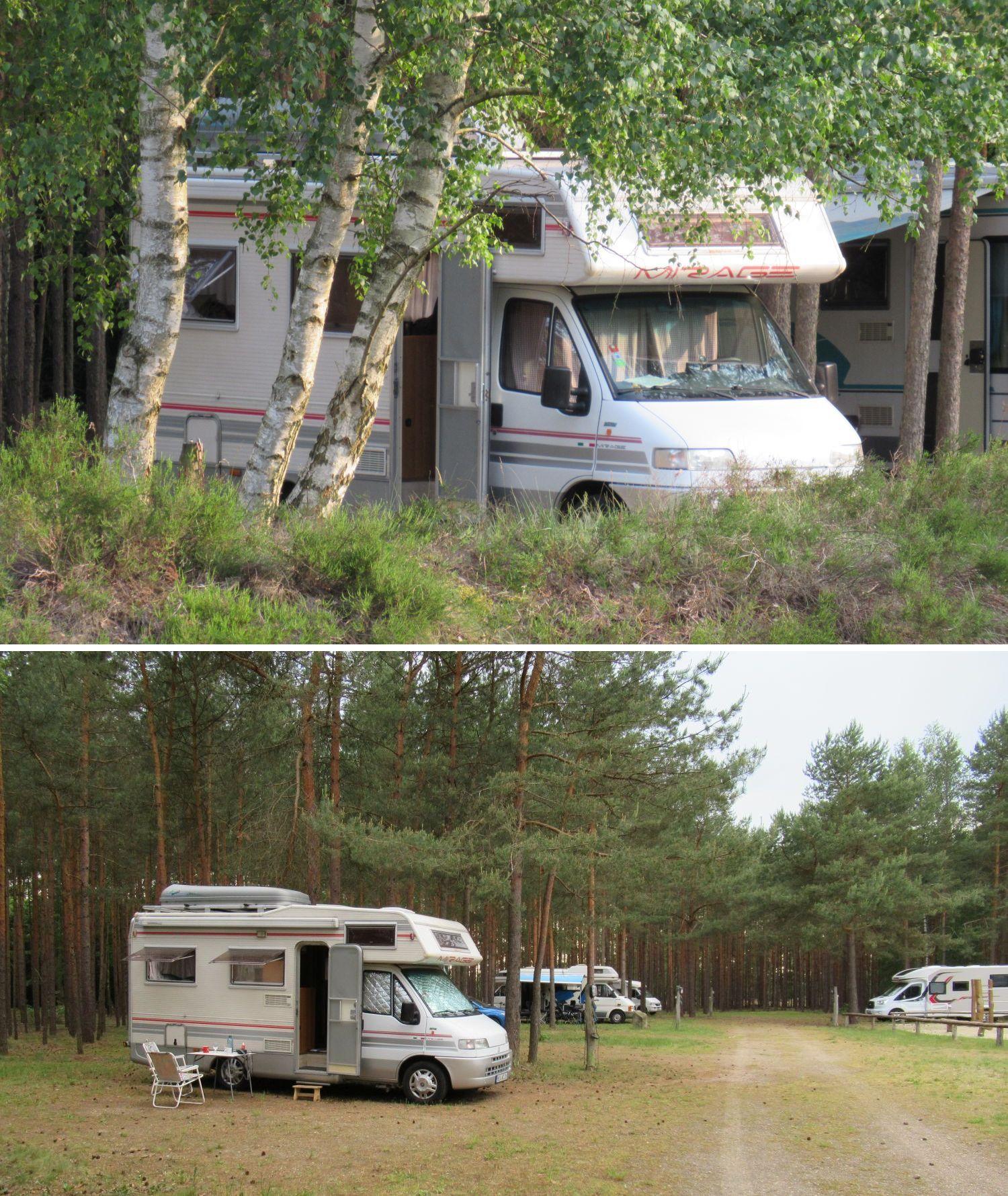 Wohnmobilstellplatz in der Nemitzer Heide.