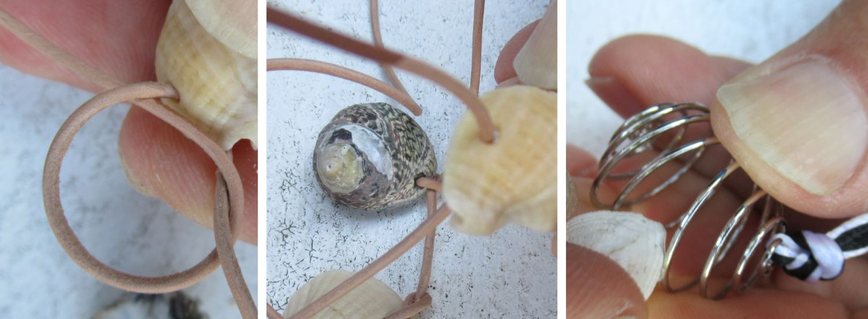 Muscheln werden zu Halsketten, in dem man sie an Bänder knotet oder  in eine Spirale legt
