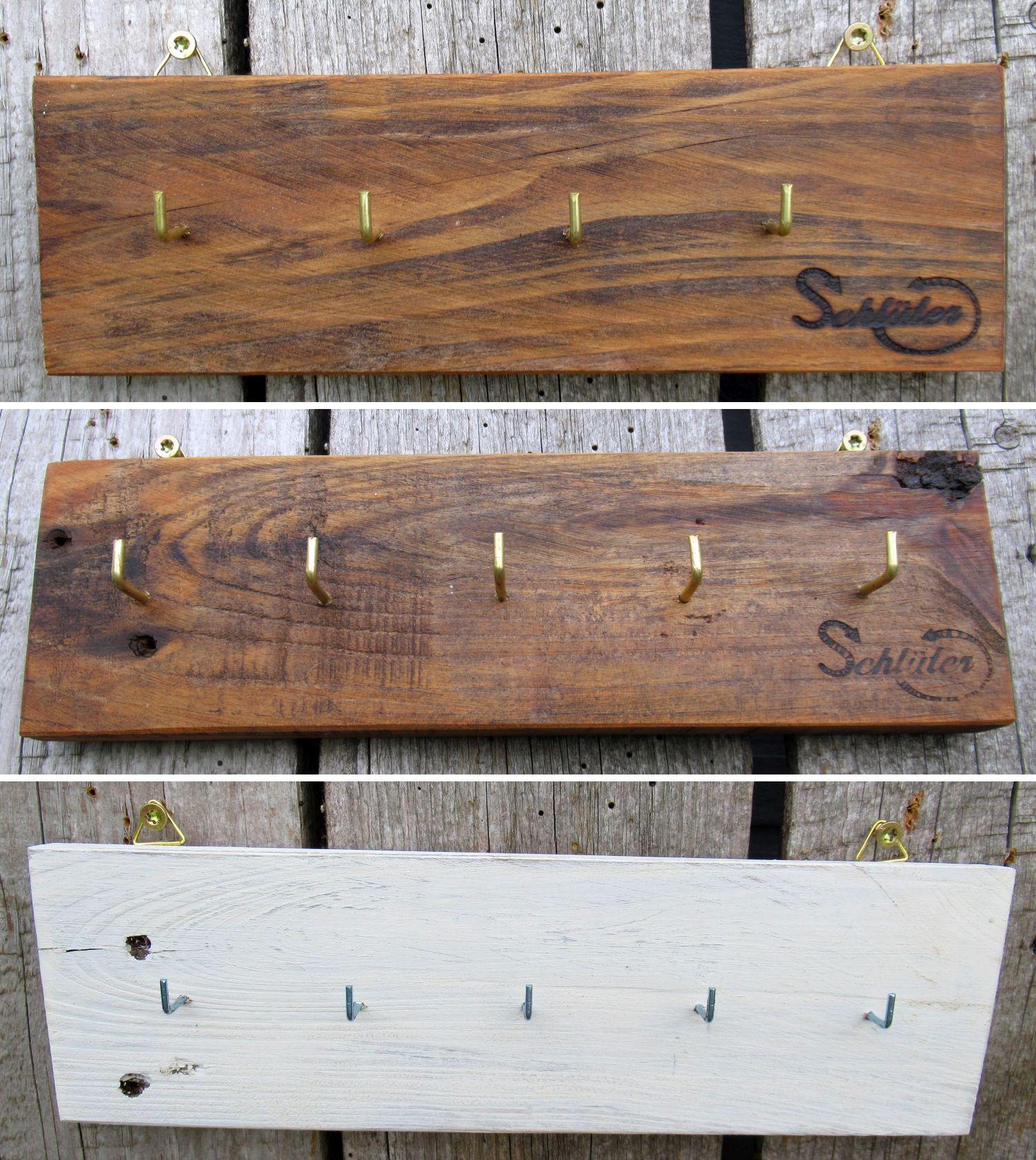 Diy schlichte Hakenbretter aus Palettenholz, gewachst oder weiß mit Kalkfarben angemalt, Geschenkidee