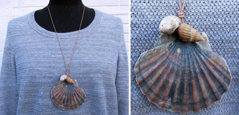 Halskette mit einer großen und zwei kleinen Muscheln am Lederband, diy