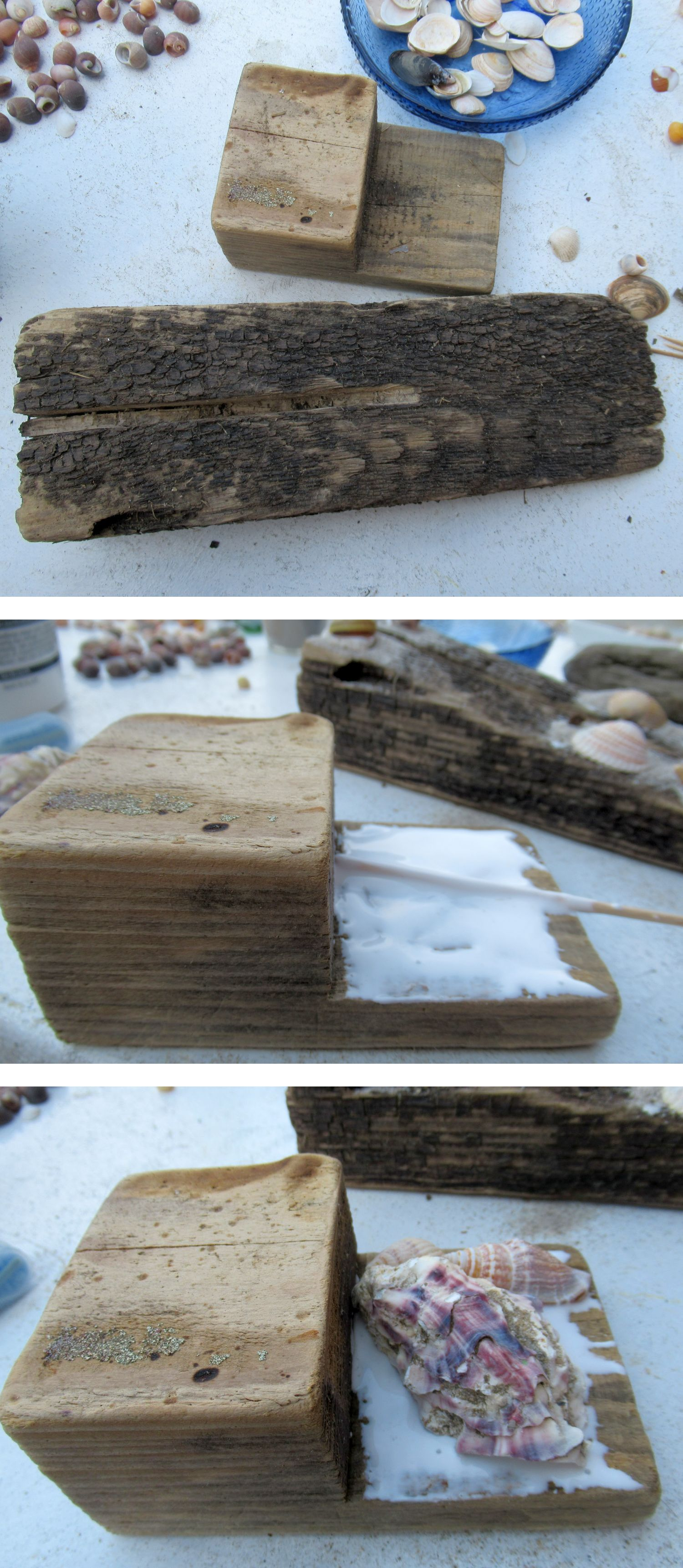 Holz mit Muscheln bekleben, diy