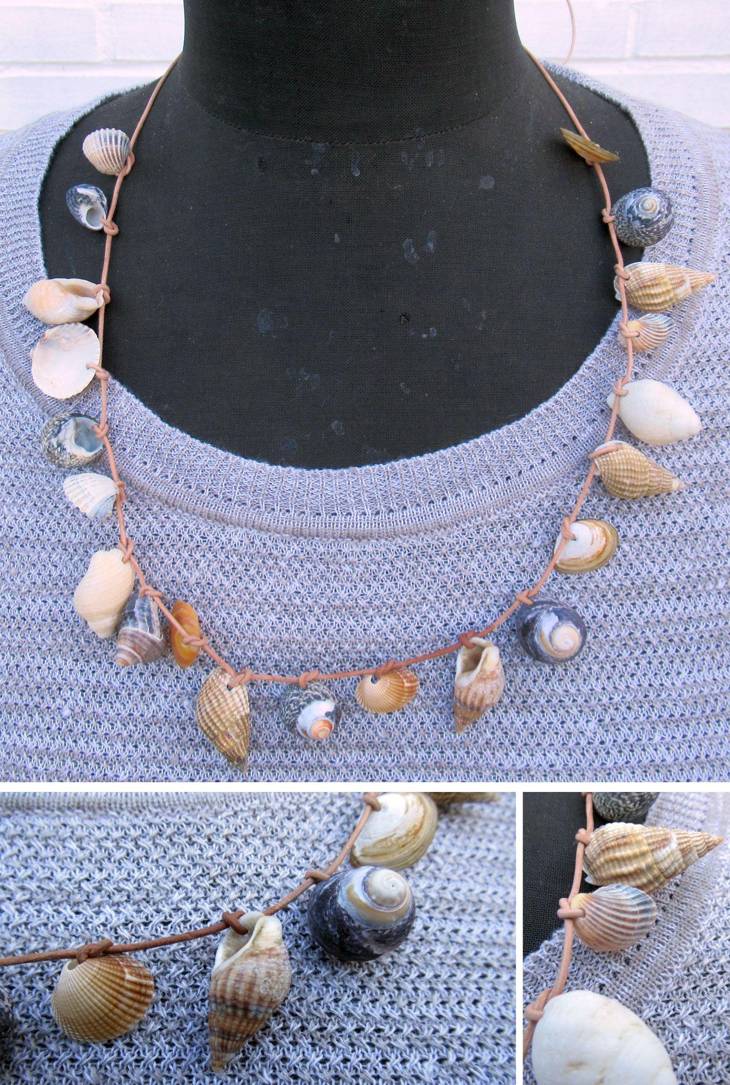 diy halskette mit kleinen Muscheln am Lederband