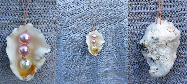 Wunderschöne Muschel mit Perlen kombiniert an ein Lederband gehängt, Diy