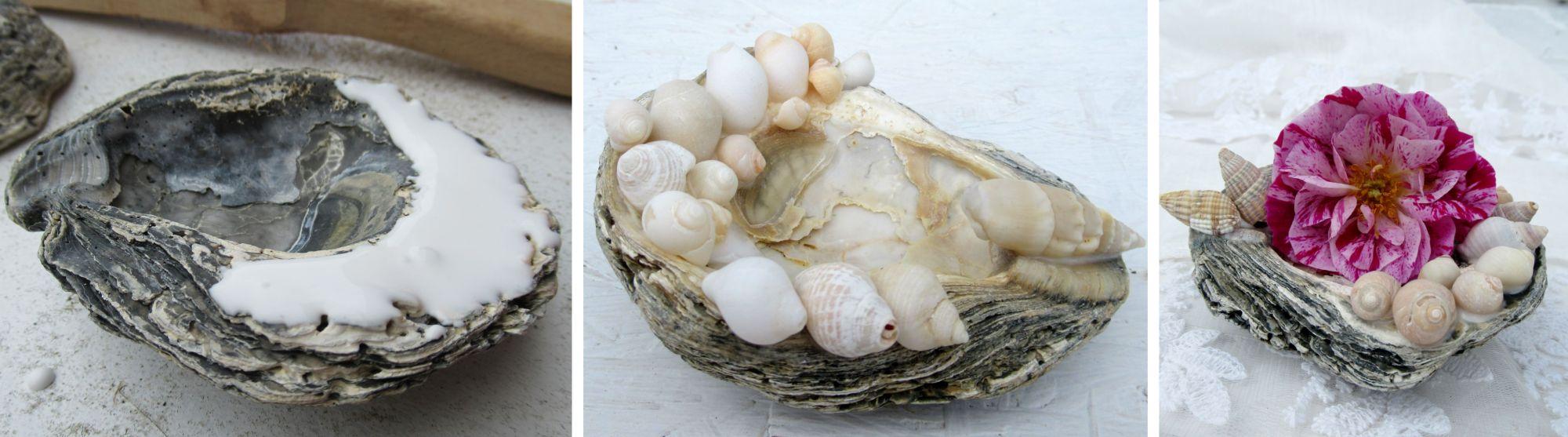 grosse Muscheln als Blumenschale und tischdeko, mit Muscheln basteln