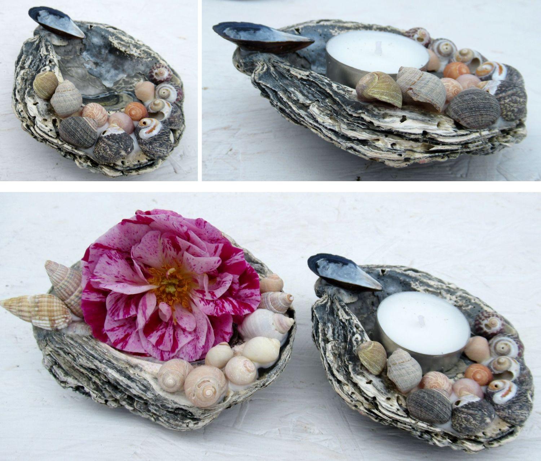 Basteln mit Muscheln, Teelichthalter oder Blumeninsel