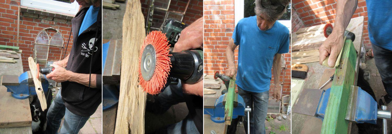 Diy Regal aus Treibholz schleifen, Anleitung Regal bauen