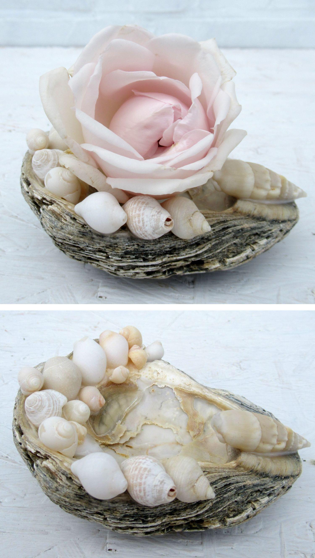 Muschel mit einer Rose geschmückt, Bastelidee