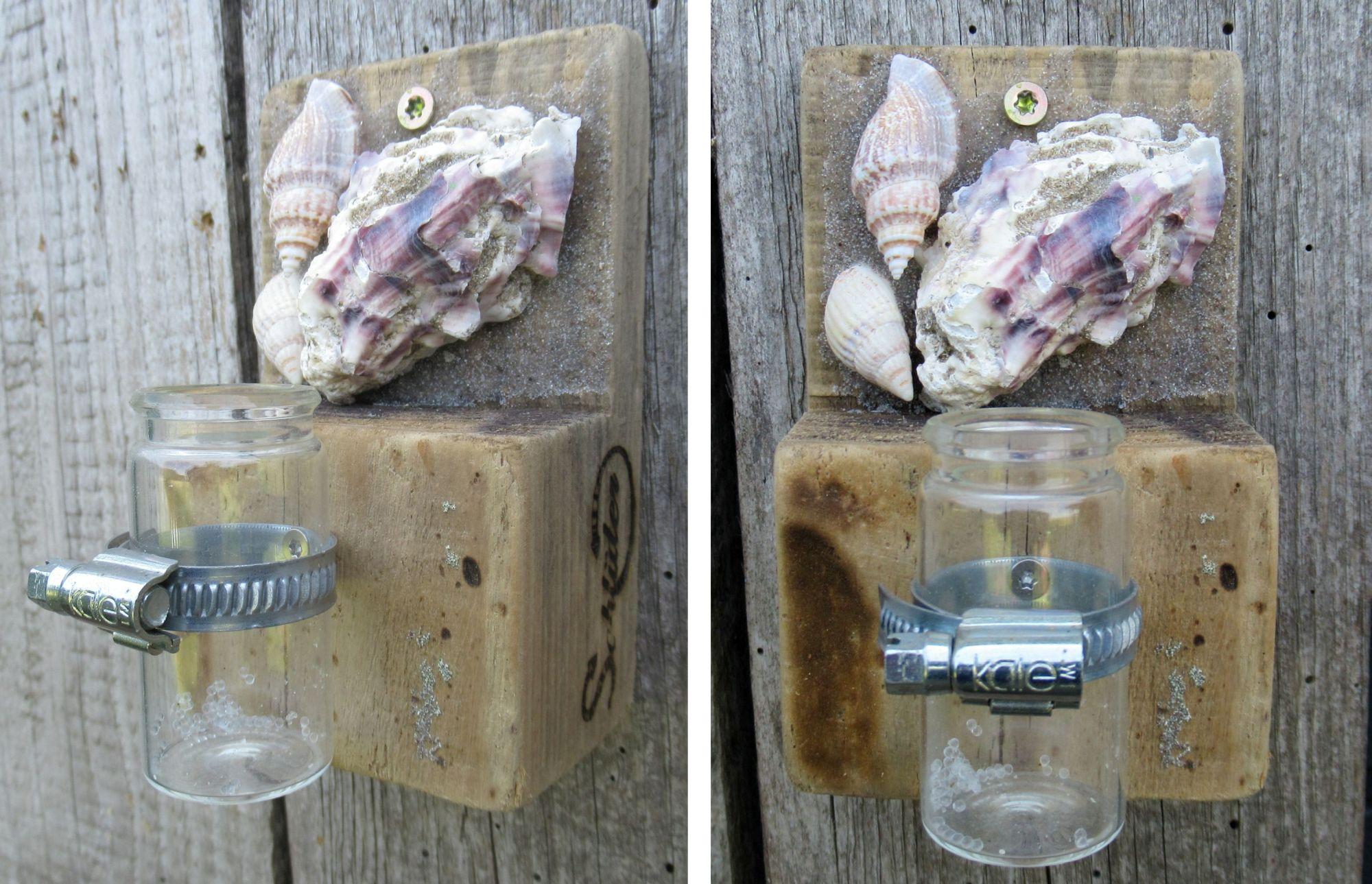 Diy Idee, ein kleines Holzstückchen wird zur Vase zum Aufhängen