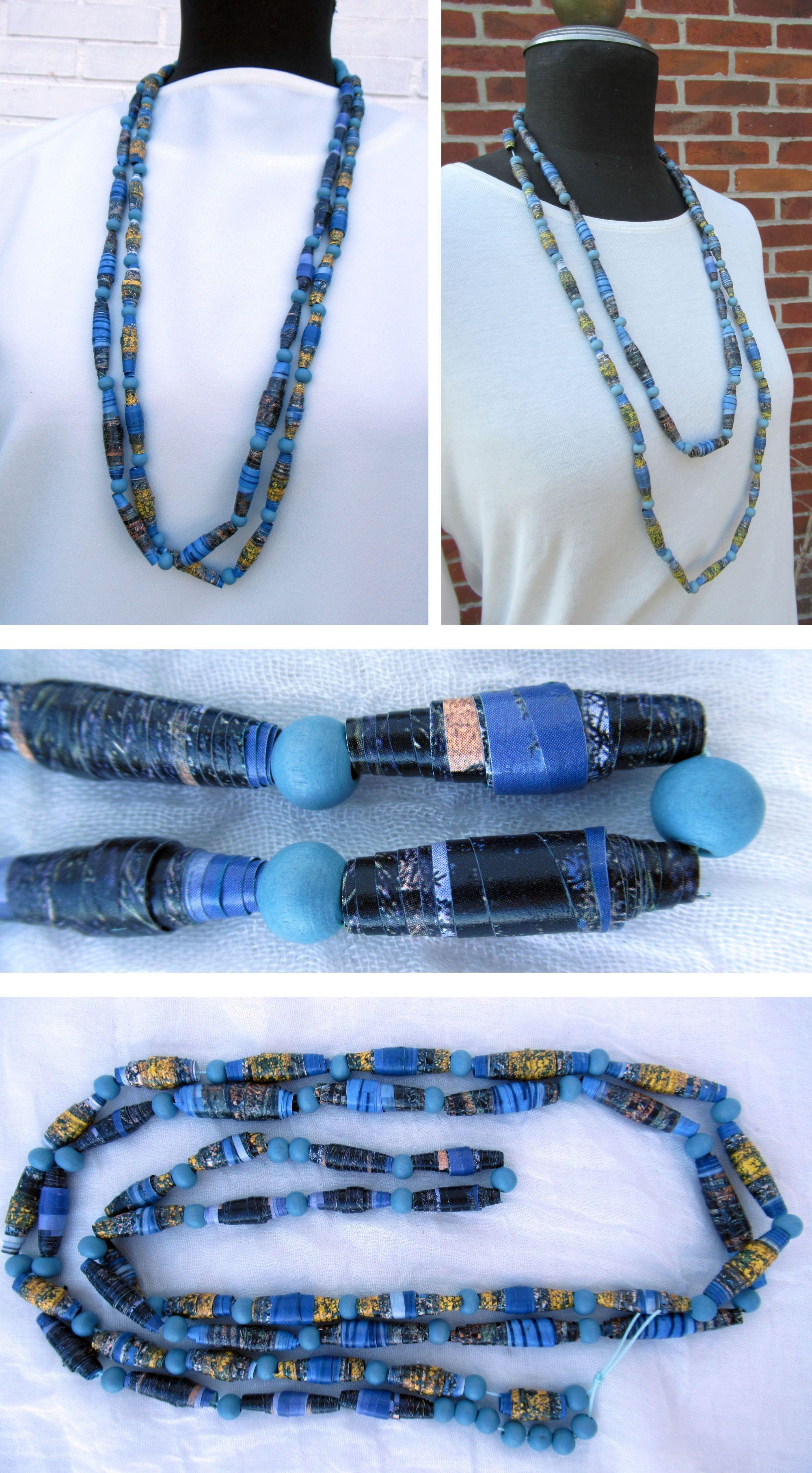 Einfache Halskette mit Perlen aus Papier und Holz