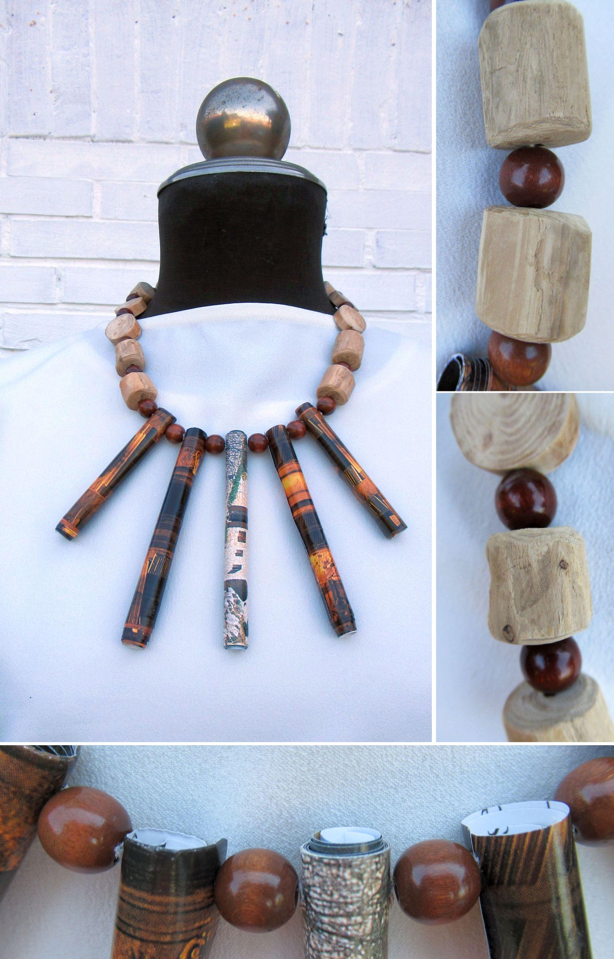 wunderschöne Halskette mit Papierperlen und Treibholz, eine schöne Geschenkidee