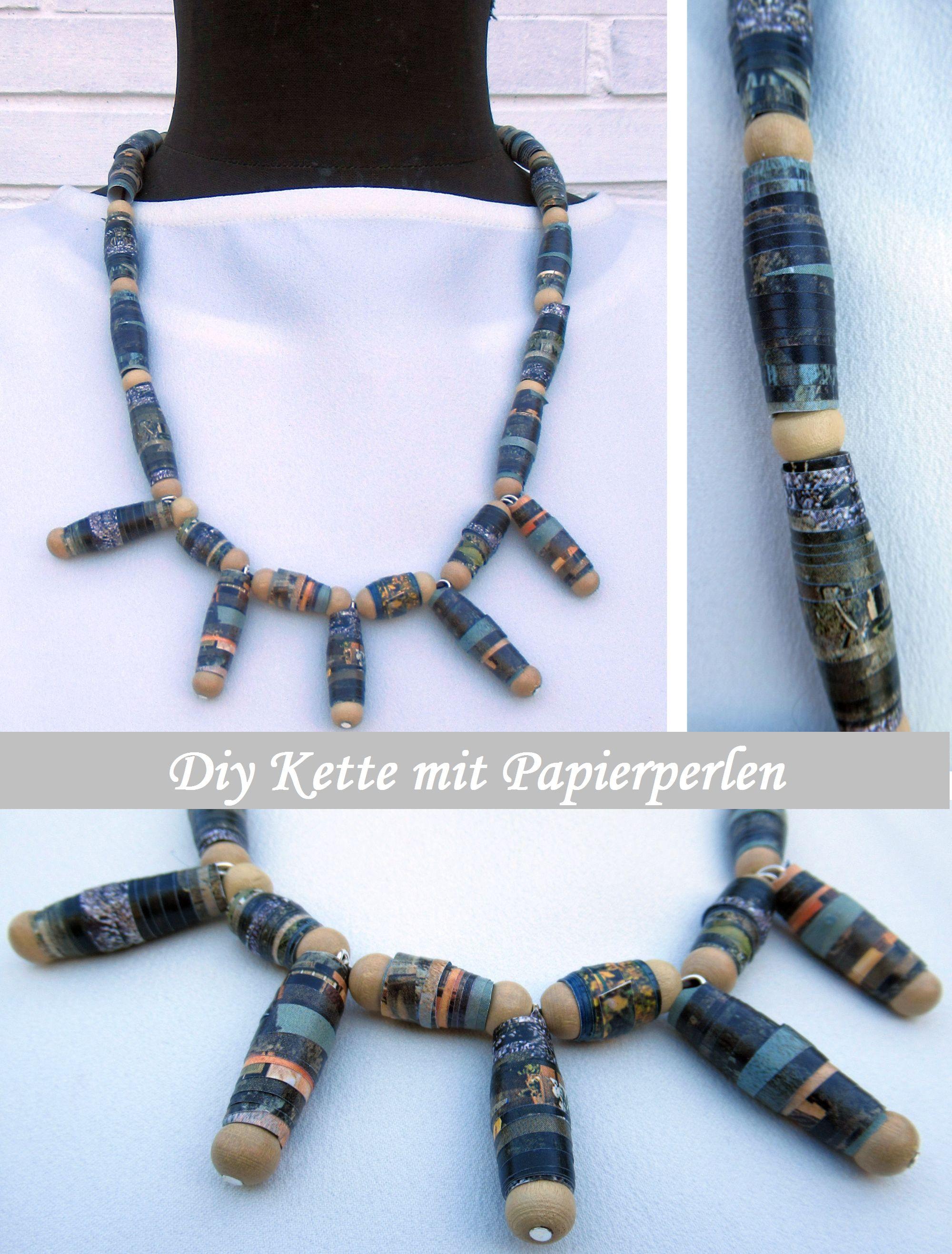 Modeschmuck Kette mit Papier Perlen und Holz Perlen, eine schöne Geschenkidee