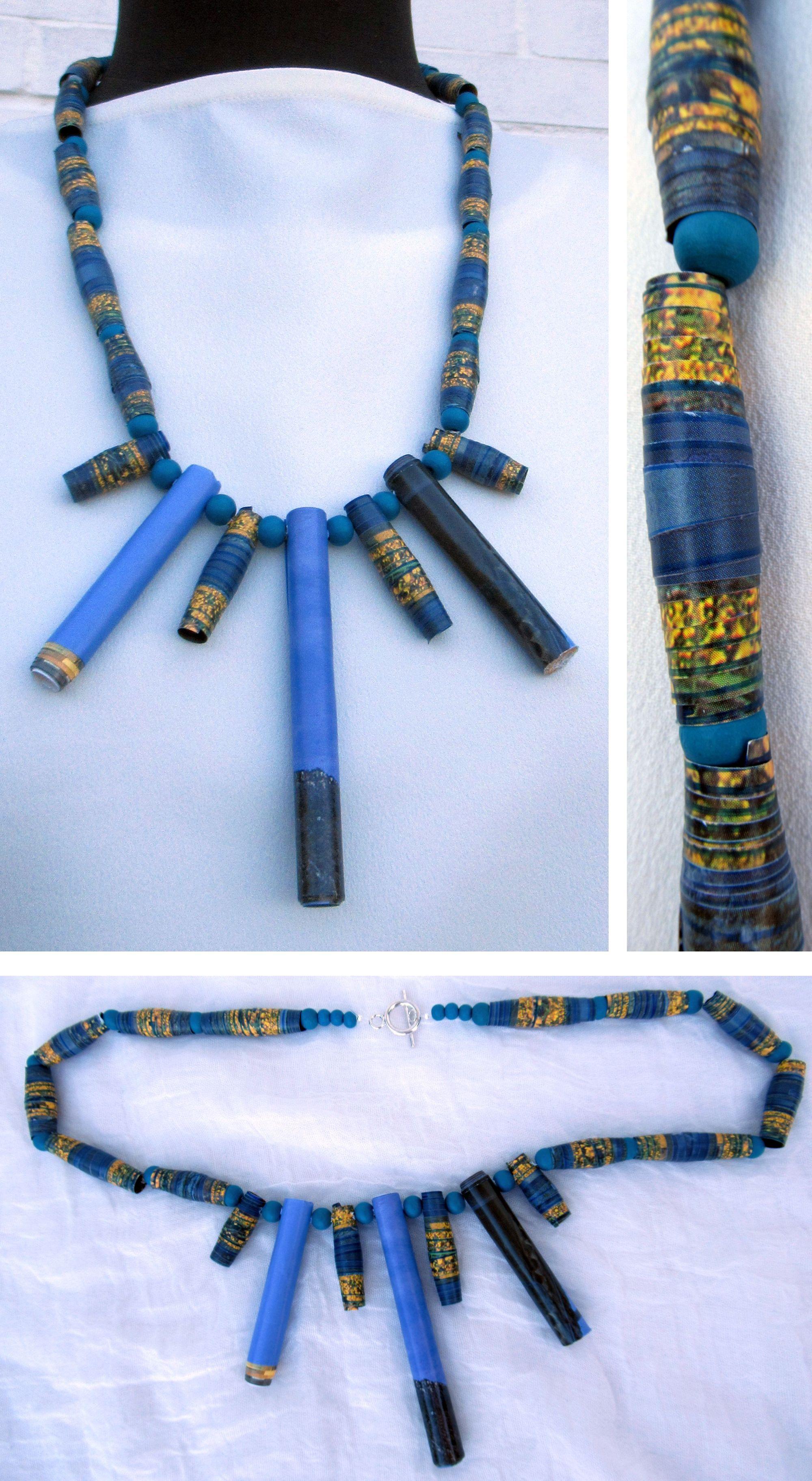 diy Halskette aus verschiedenen Perlen in verschiedenen Größen und Formen