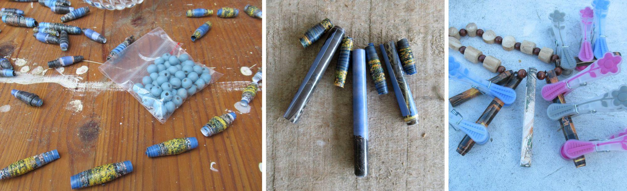 Halsschmuck basteln mit Perlen aus Papier, Anleitung