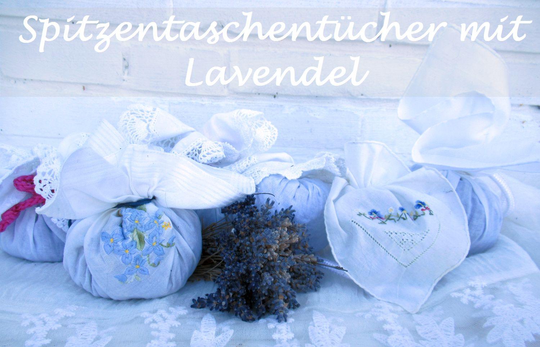 Spitzentaschentücher mit lavendel für den Wäscheschrank