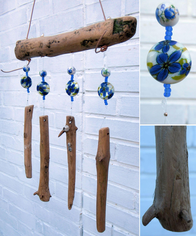 Treibholz Mobile mit blau weissen Perlmutt und Keramik Perlen selber machen