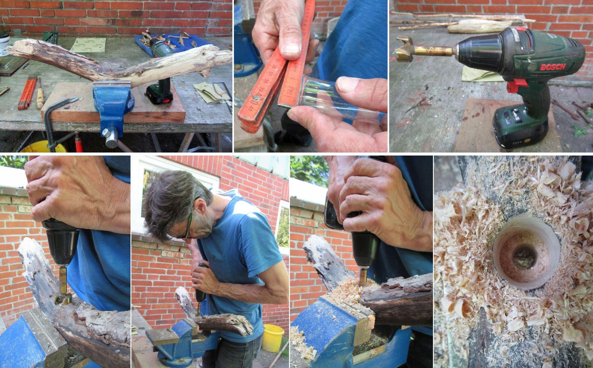 Anleitung zum Bau einer Vase zum Aufhängen mit Treibholz