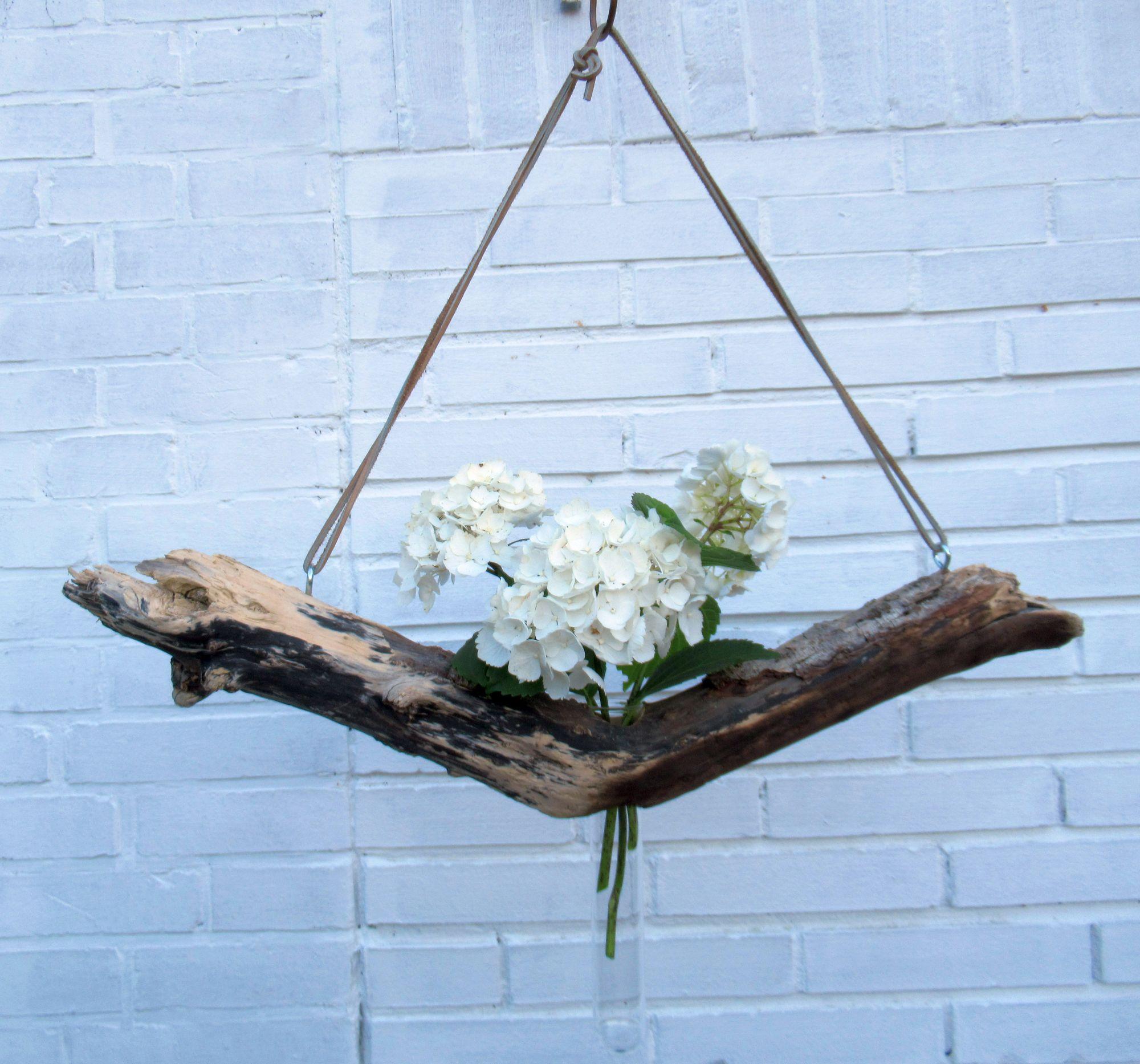 Ein schönes Treibholz wird zur Vase zum Aufhängen