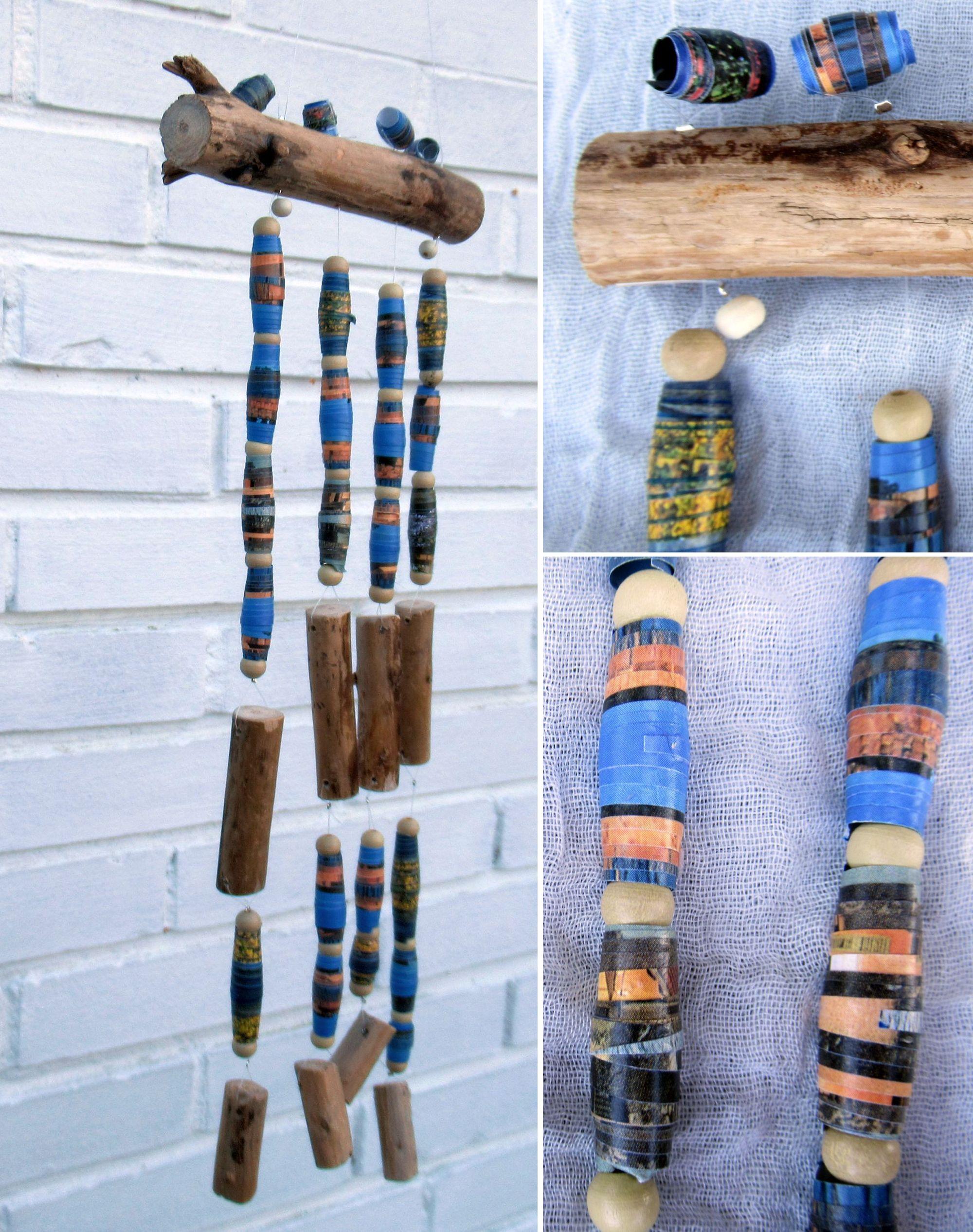 Diy Windspiele aus Treibholz und selbst gebastelten Perlen aus Papier