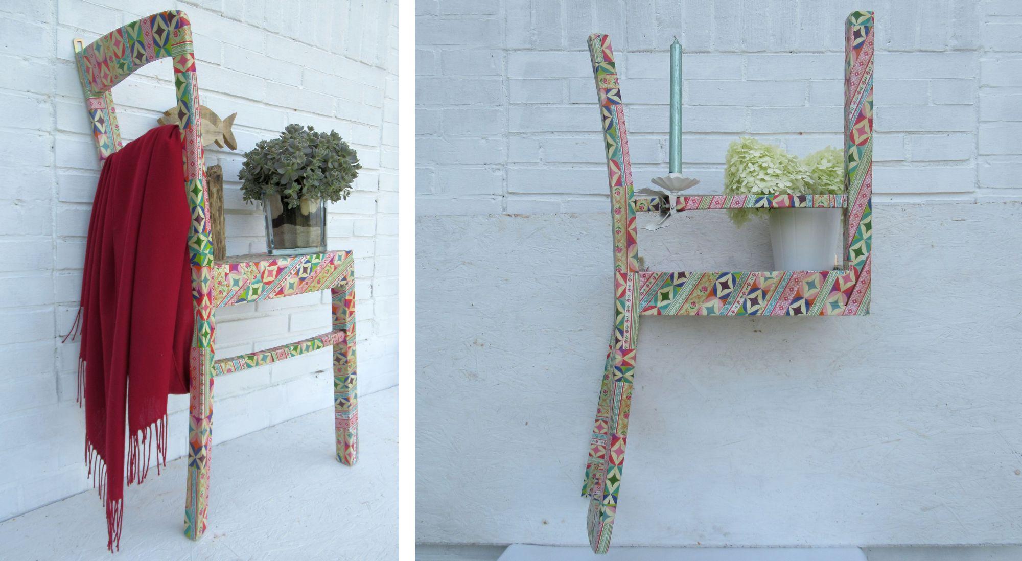 Alte Stühle als Regal zum Aufhängen, Wandregal halber Stuhl