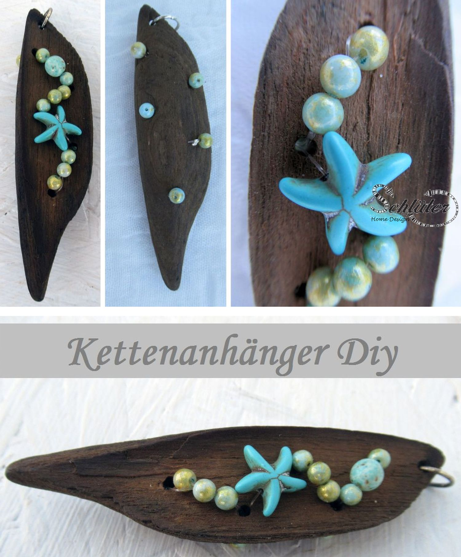 Treibholz Kettenanhänger mit türkisen Perlen und Seestern