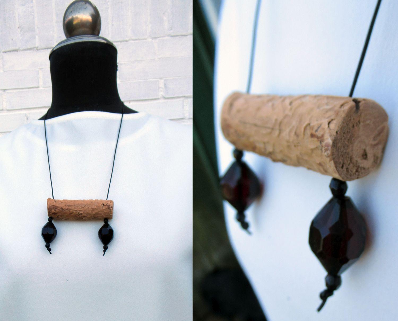 Halskette mit Treibholz und vintage perlen, diy