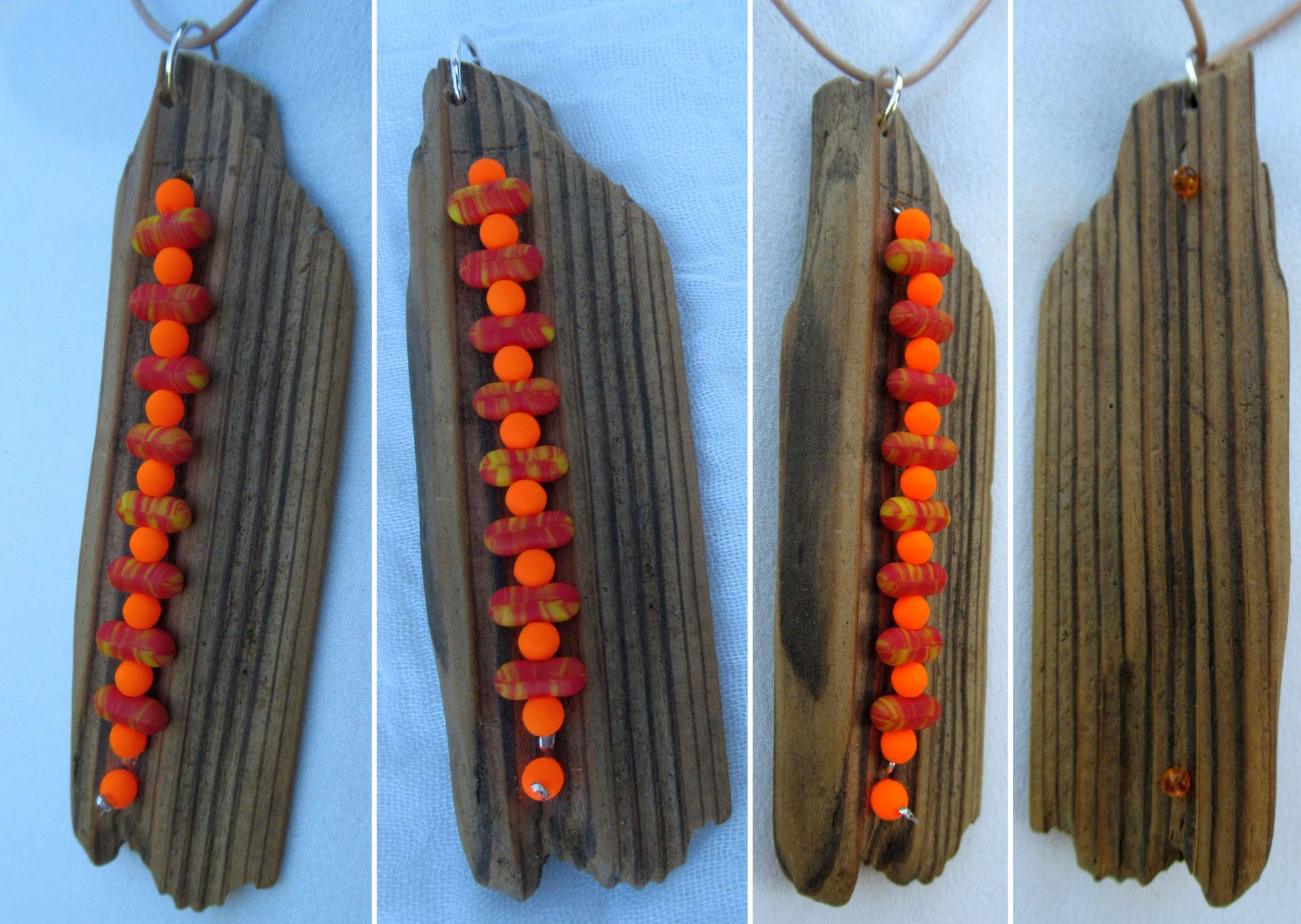 Schönes Treibholz und lustige Perlen für einen tollen Kettenanhänger, Bastelidee