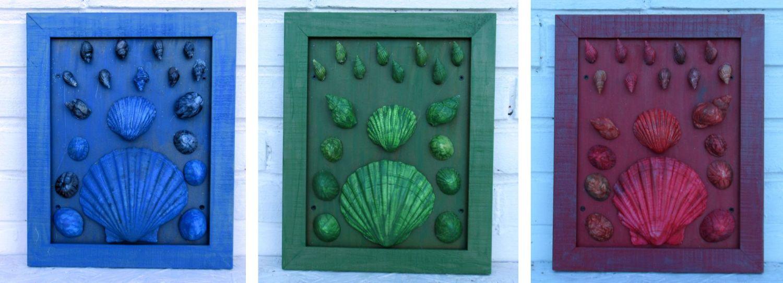 Bilder zur Dekoration mit bunten Muscheln, eine schöne Idee für ein maritimes Zuhause