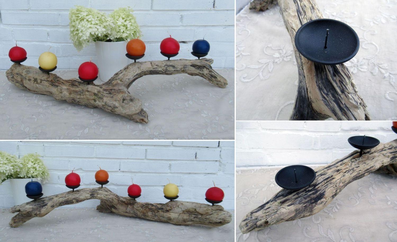 Toller Kerzenständer aus Treibholz mit schöner Form.