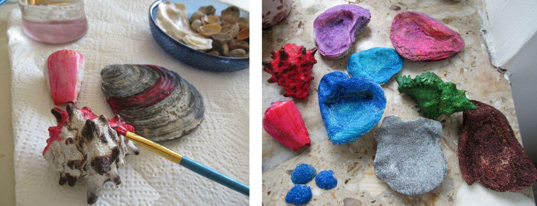 Muscheln bunt anmalen mit Acrylfarbe und mit Glitzer bestreuen