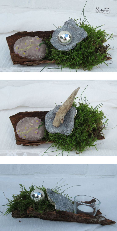 Dekorationsideen mit silberner Muschel, Moos und Rinde