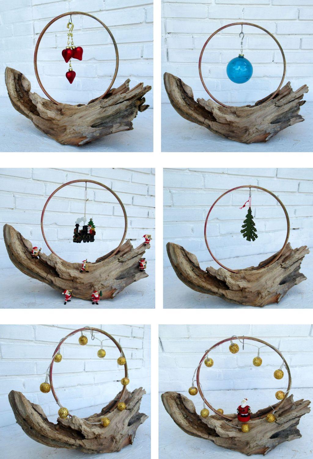 verschiedene Dekorationsvorschläge für die Weihnachtszeit mit Treibholz
