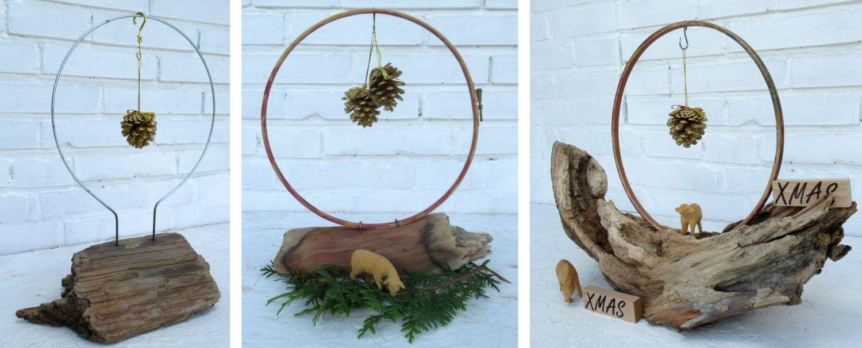 Weihnachtliche Dekoration mit Treibholz, Tannenzapfen und Schaf, Ideen zum Nachmachen
